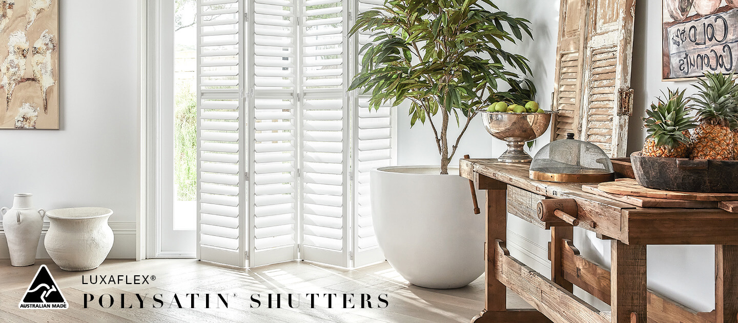 Luxaflex - Products - Shutters and Venetians - Polysatin Shutters Banner 1 image