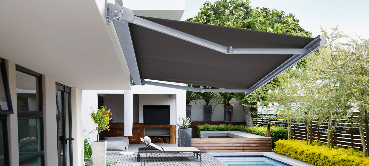 Luxaflex Showcase - Products - Exterior Collection - Folding Arm Awnings Banner