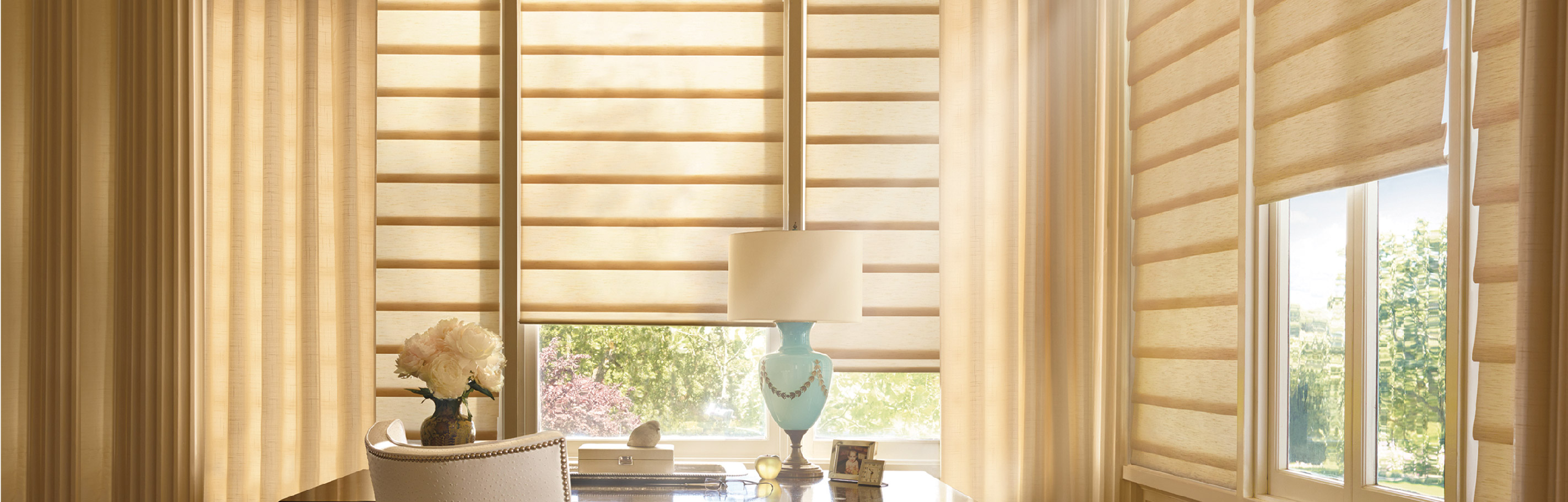 Luxaflex Showcase - Products - Softshades and Fabrics - Modern Roman Shades Bottom