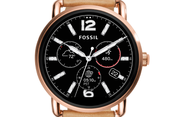 Close up of the Fossil Smartwatch watch face