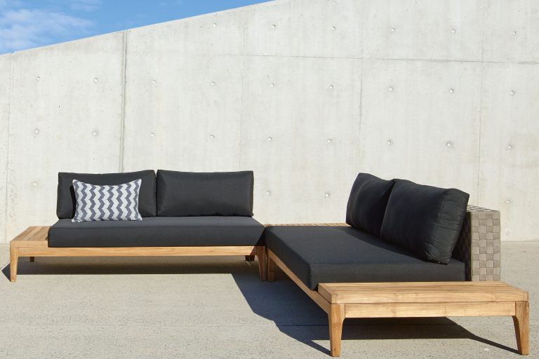 grid 3 piece outdoor corner modular lounge setting domayne. Black Bedroom Furniture Sets. Home Design Ideas