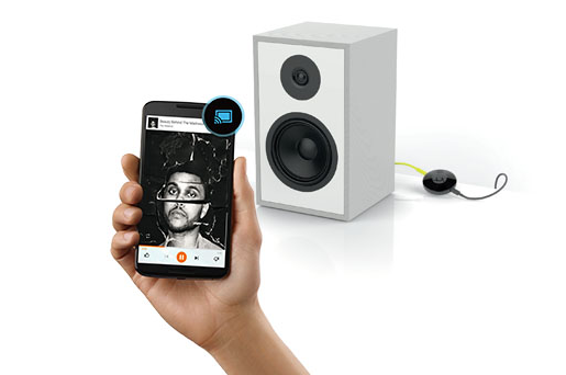 Chromecast Audio and speaker controlled by device.