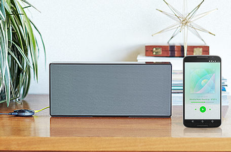 Chromecast Audio with speaker.