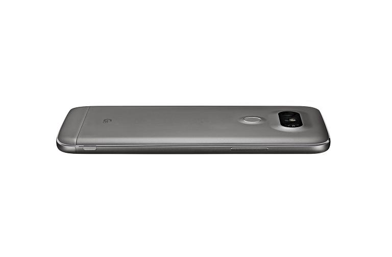 The LG G5 lies screen down