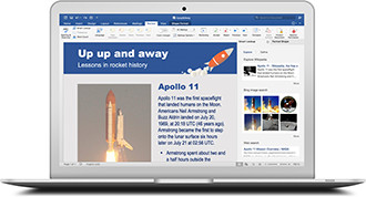 Office 365 on a Macbook showing an open document in Word.