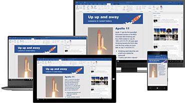 A range of devices showing an open document in Office 365 Word on each.