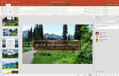 Office 2016 open with a PowerPoint presentation.