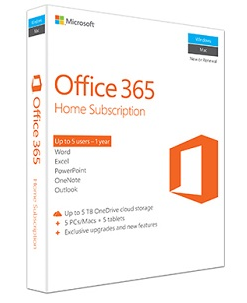Office 365 Home packaging.