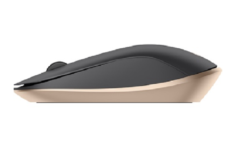 Side vew of the HP Spectre mouse, showing streamlined deisgn and copper accents