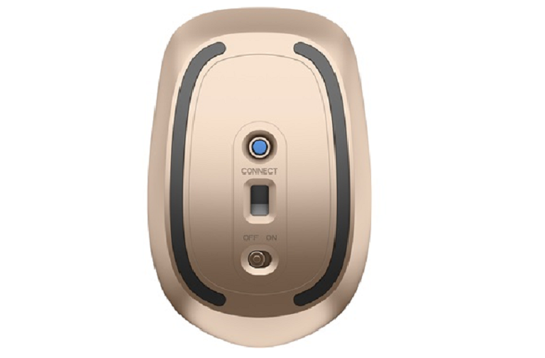 The copper base of the HP bluetooth mouse with power switch, connection switch and battery indicator light