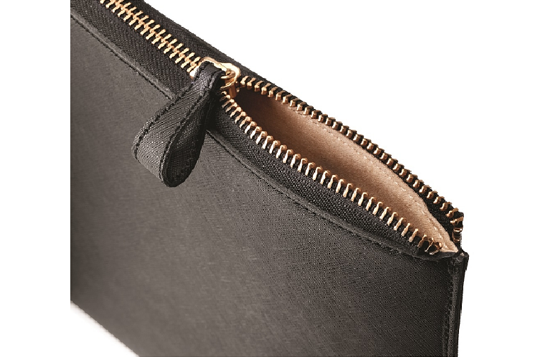 The Spectre laptop sleeve with cooper zipper partly undone