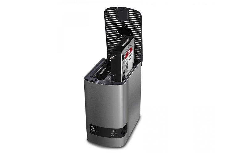 The WD My Book Duo with drive compartment open, showing where additional storage drives can be inserted