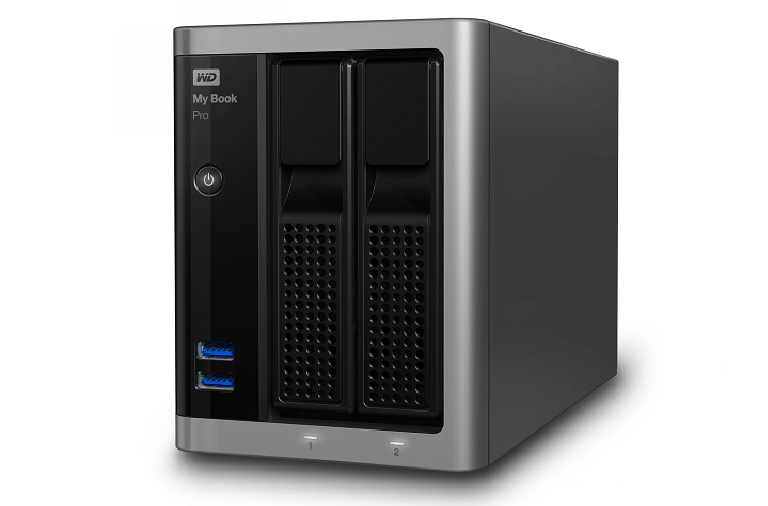An angled shot of the Western Digital desktop hardrive