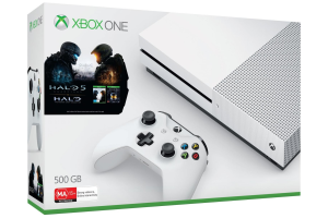 Pack shot of Xbox One S and Halo
