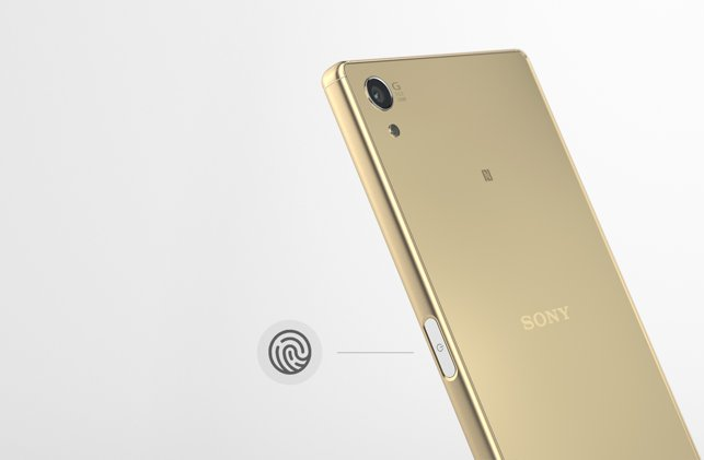 A side-on image of a gold Xperia Z5 Premium.