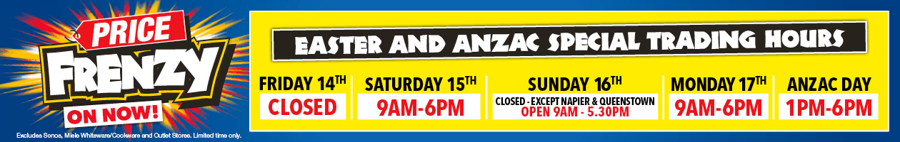 Price Frenzy Harvey Norman store Easter hours