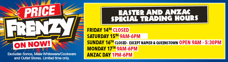 Price Frenzy Harvey Norman store Easter hours mobile