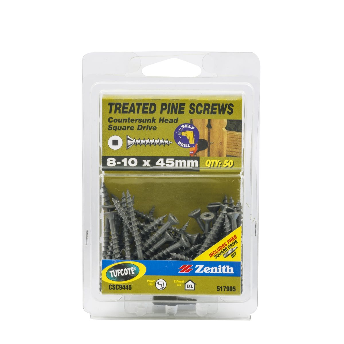 Zenith Treated Pine Screws Tufcote Square Drive