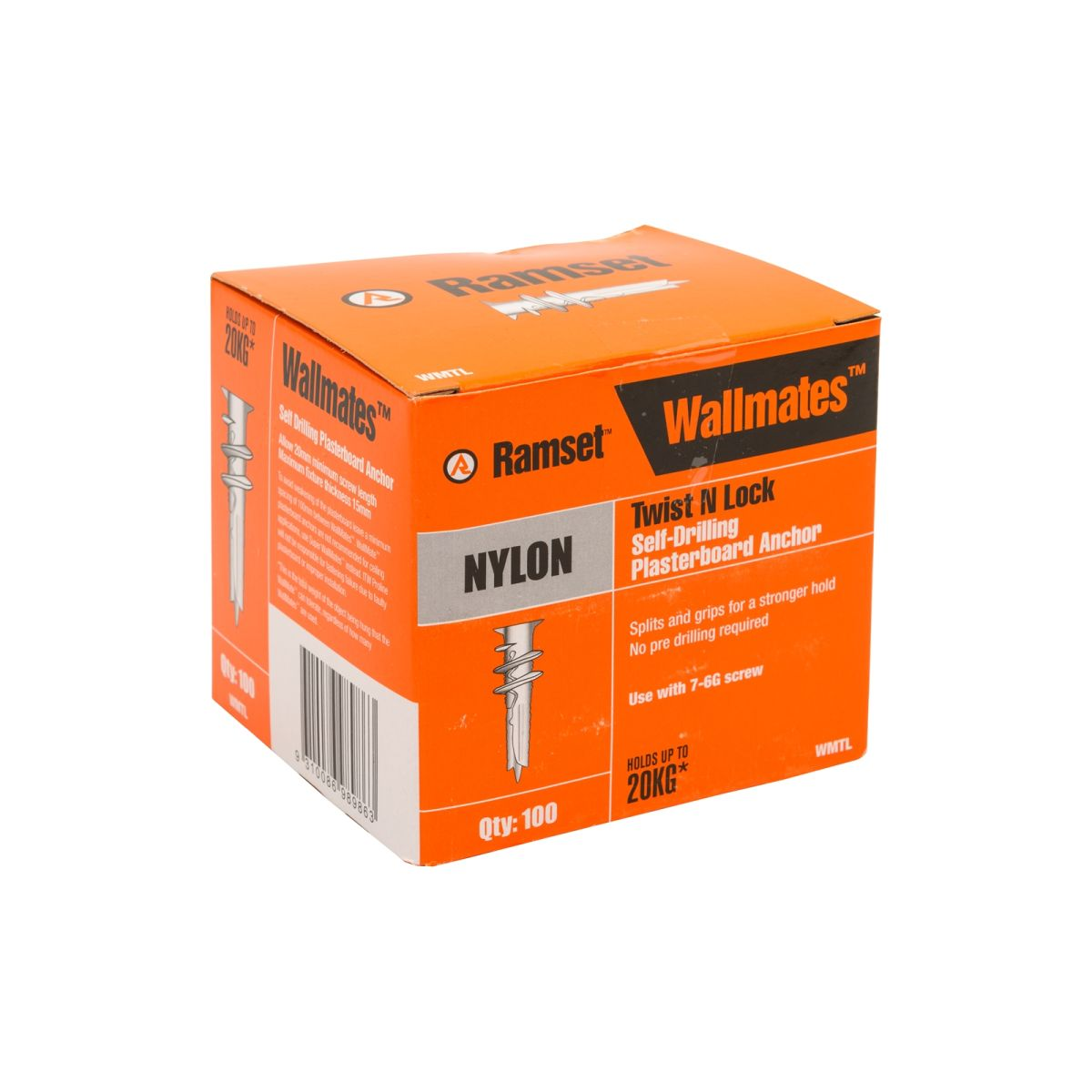 Ramset Wallmates Anchor Nylon Twist N Lock 20kg (100 Pack)