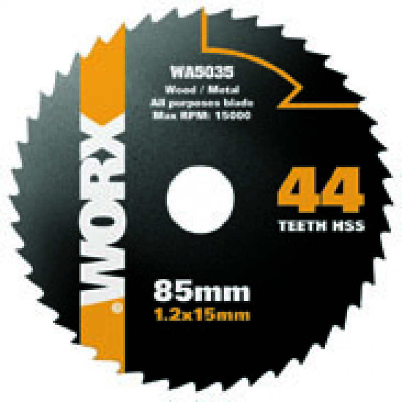 WORX 85mm 44 Tooth HSS PVC and Non-Ferrous Metals Blade