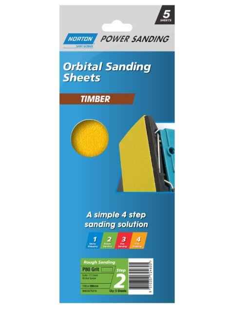 Norton Wood Orbital Sanding Sheet 115x280 Medium P80 (5 Pack)