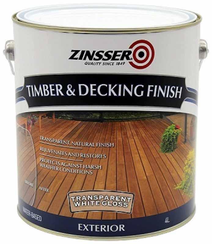 Zinsser Timber & Deck Finish White Gloss 4L