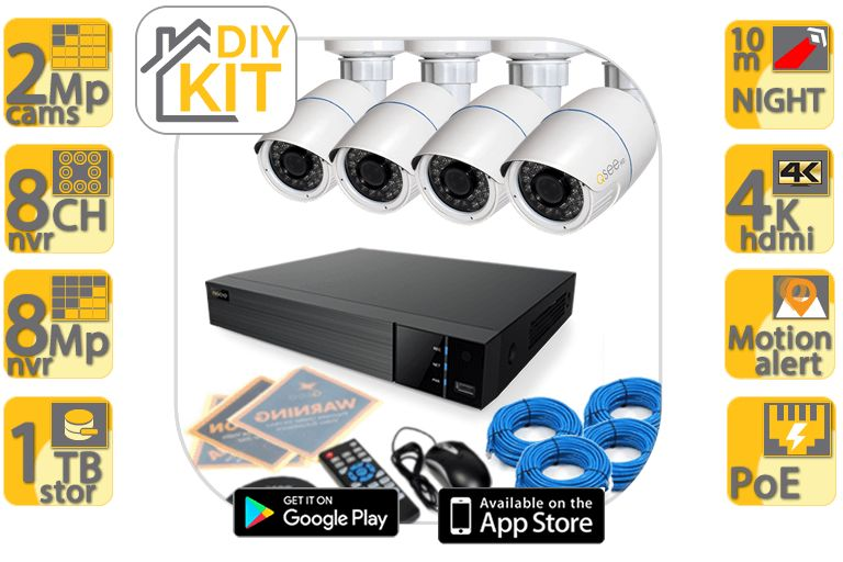 Q-See 4 2MP Bullet Camera 8 Channel PoE Camera Kit