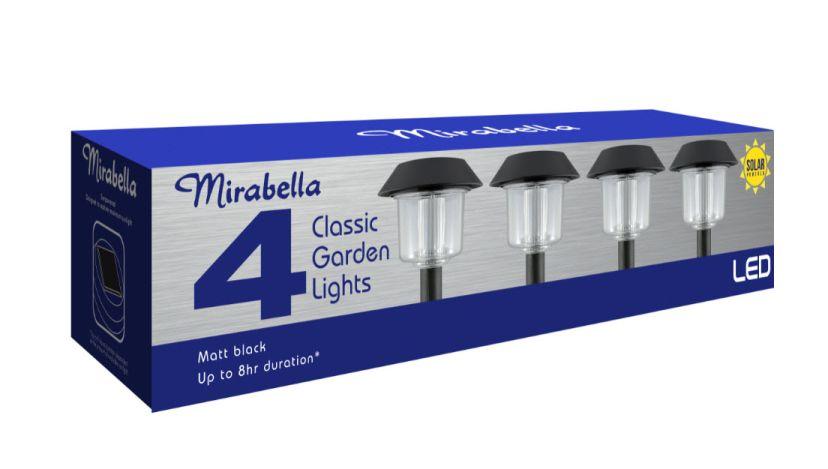 Mirabella Light Solar Stake LED Black Plastic (4 Pack)