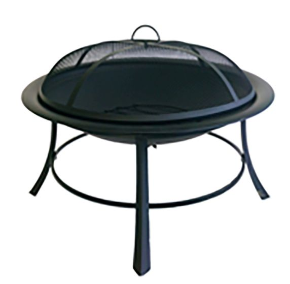 Round Steel Firepit with Mesh Lid 760mm