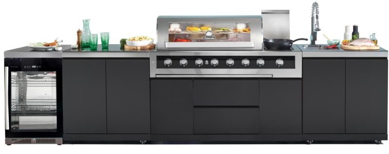Gasmate Galaxy 6 Burner Kitchen BBQ With 1 Door Bar Fridge