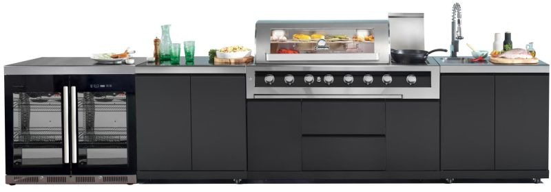 Gasmate Galaxy 6 Burner Kitchen BBQ With 2 Door Bar Fridge