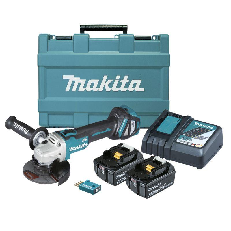 Makita 18V 125mm Brushless Angle Grinder Kit - Slide Switch