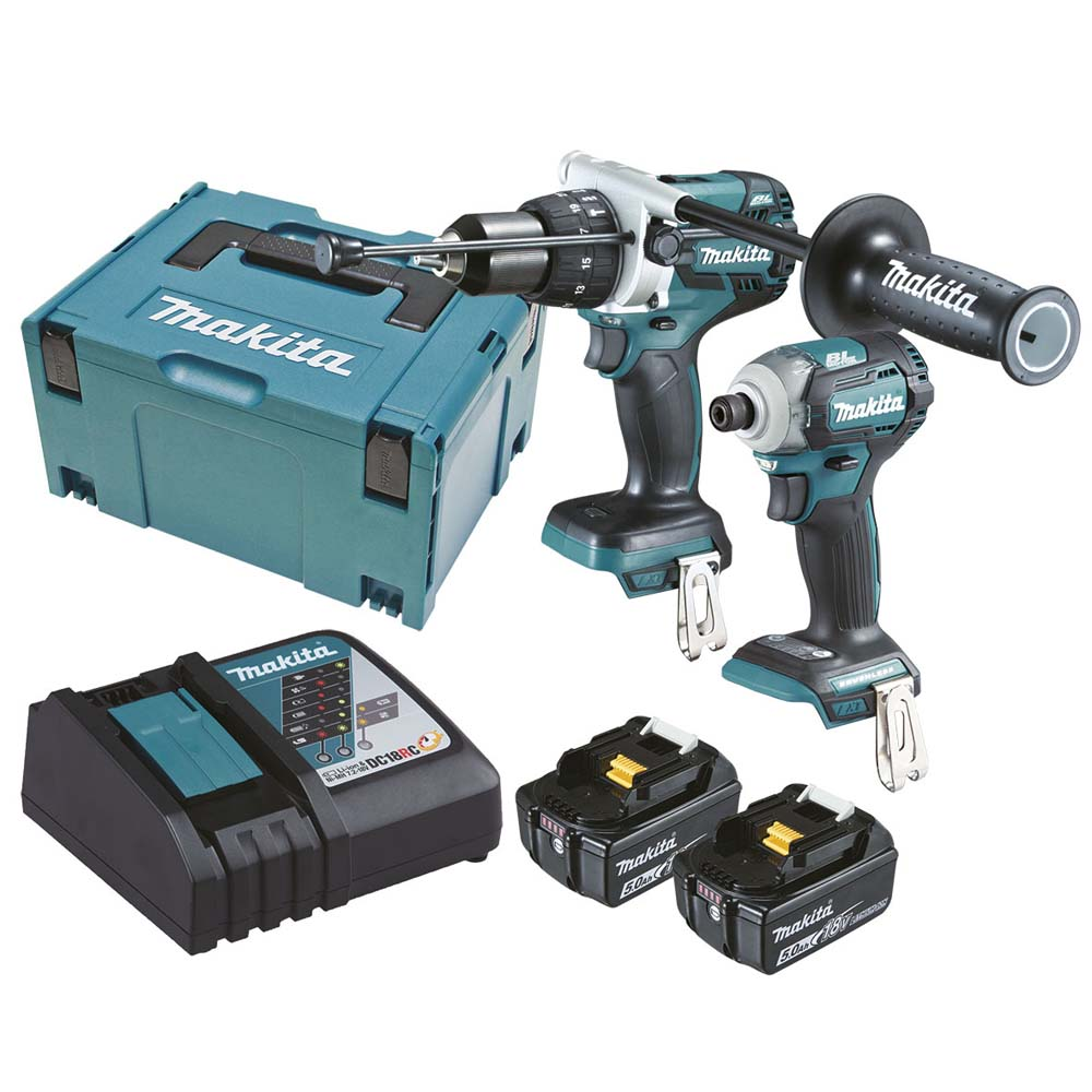 Makita 18v 50ah 2 Piece Brushless Combo Kit Dlx2214tj Home Timber Stanley Hammer Drill