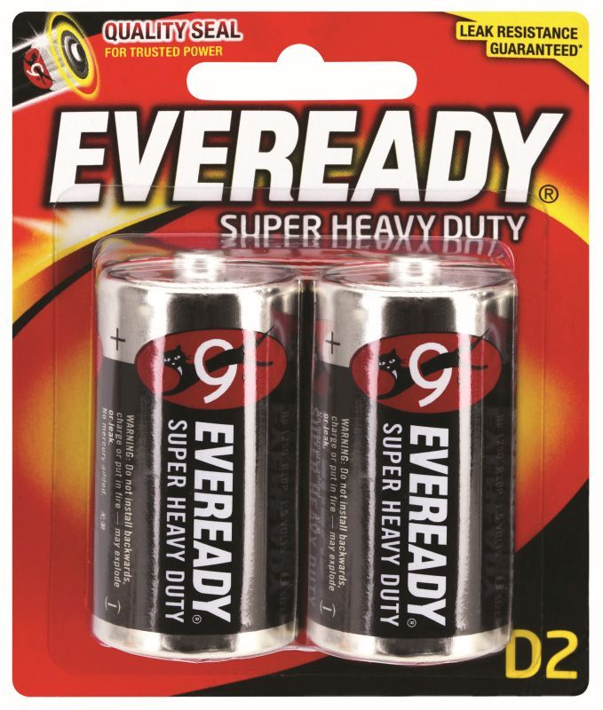 Eveready Super Heavy Duty Battery Black D 2 Pack