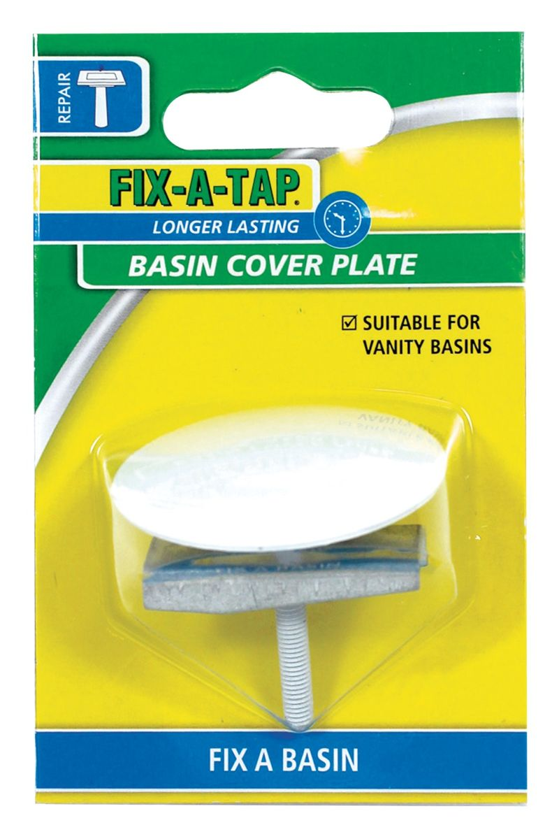 FIX-A-TAP Basin Cover Plate White 50mm