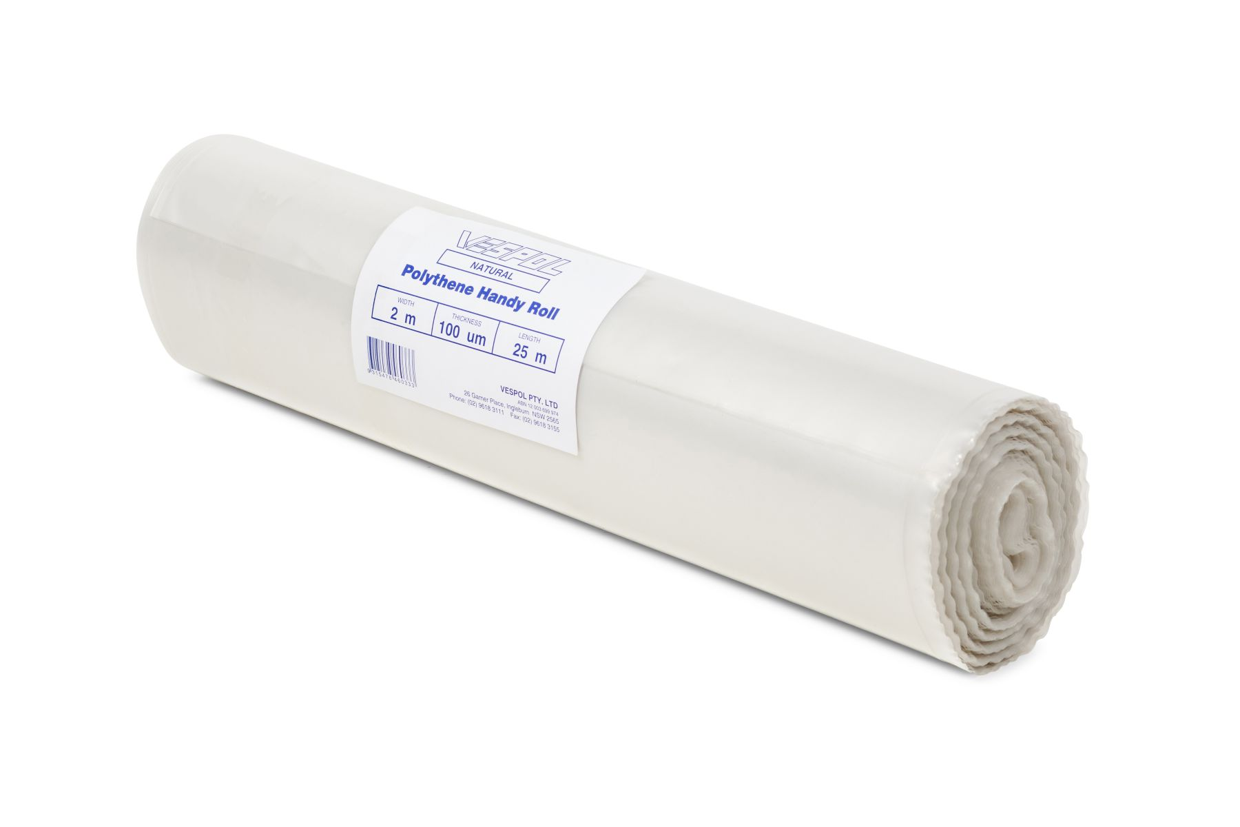 Vespol Film Polythene Handy Roll Natural 2x5m 100um