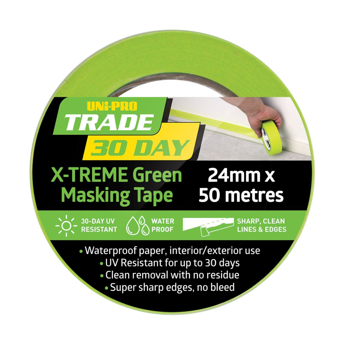 Uni-Pro Trade 30 Day X-TREME Green Masking Tape 48mm x 50m
