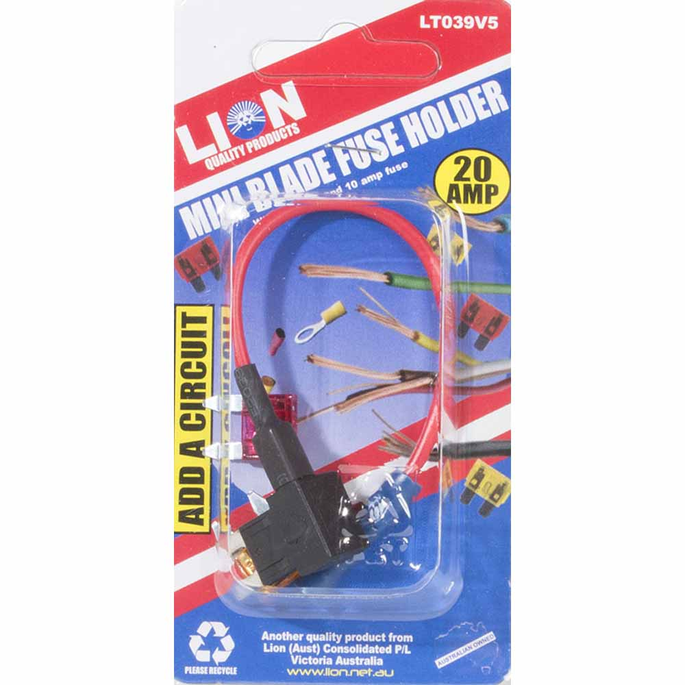 Lion 20amp Mini Fuse Holder Home Timber Hardware Addacircuit Blade Red