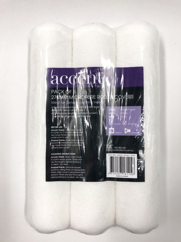 Accent 270mm Microfibre Roller Covers 3Pk.
