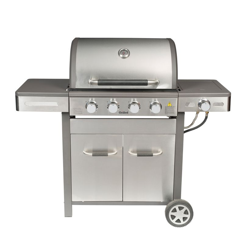 Grilled 4 Burner BBQ Stainless Steel with Side Burner