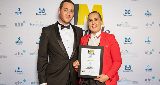 Rising Star Award presneted by Ben Chapman of Intrust received by joint winner Kate Milcross of Mercure Sydney International Airport