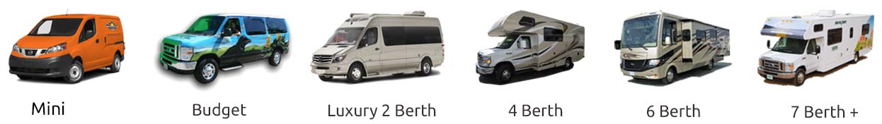images of the types of vehicles you can hire, including a budget vans, Hi-Top, 4x4, Luxury 2 to 7 berth RVs