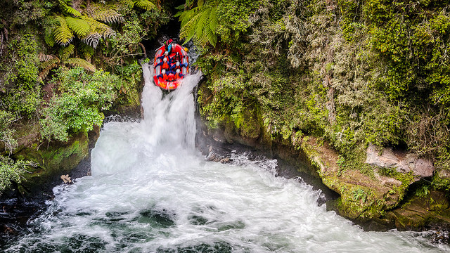 white-water rafting at Tutea Falls, New Zealand