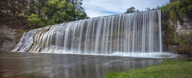 Rere Falls near Gisborne is a great place to take a break from driving your campervan