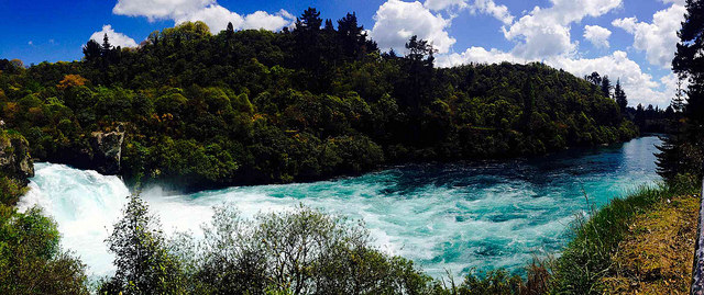 Huka Falls New Zealand - often visited by campervans on a road trip