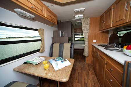 Inside the 4 berth Seeker Motorhome for hire from Cruisin Motorhomes