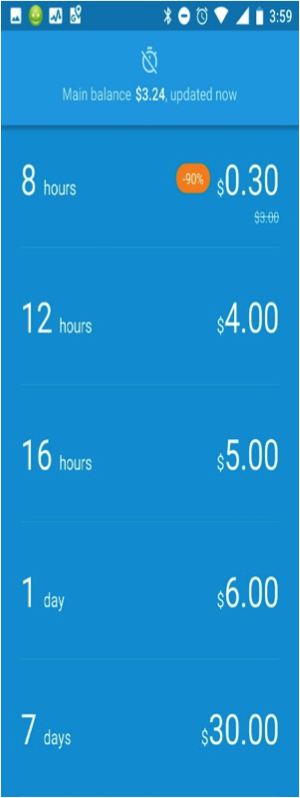 Data Clock pay for data as you use it