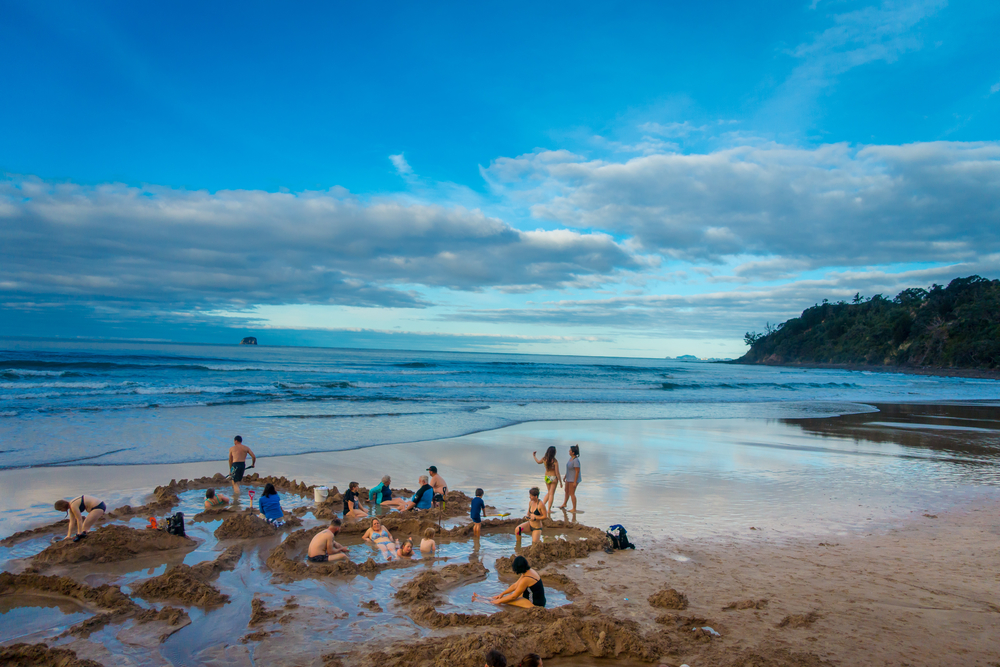 Hot water beach near Hahei New Zealand - you can get to it in your campervan