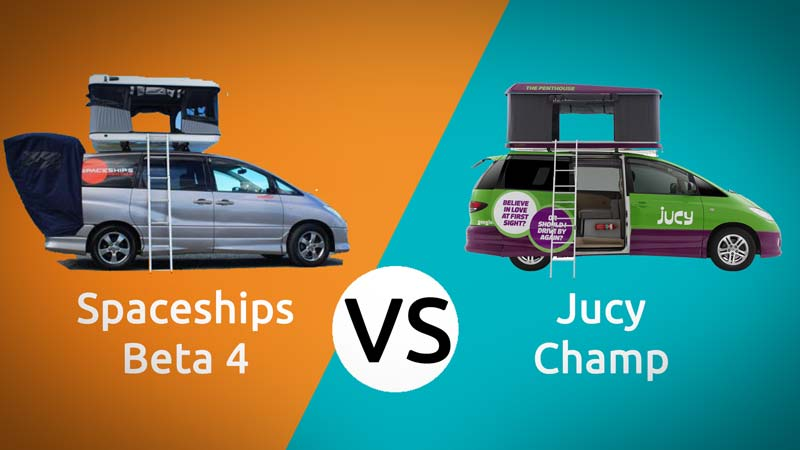 Jucy Champ vs Spaceships Beta 4 rooftop campervans head to head