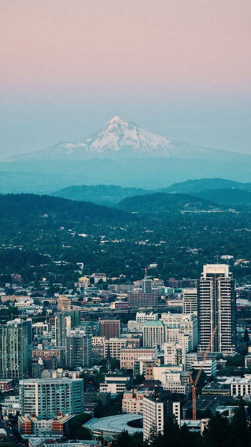 Portland with Mt.Hood in the background